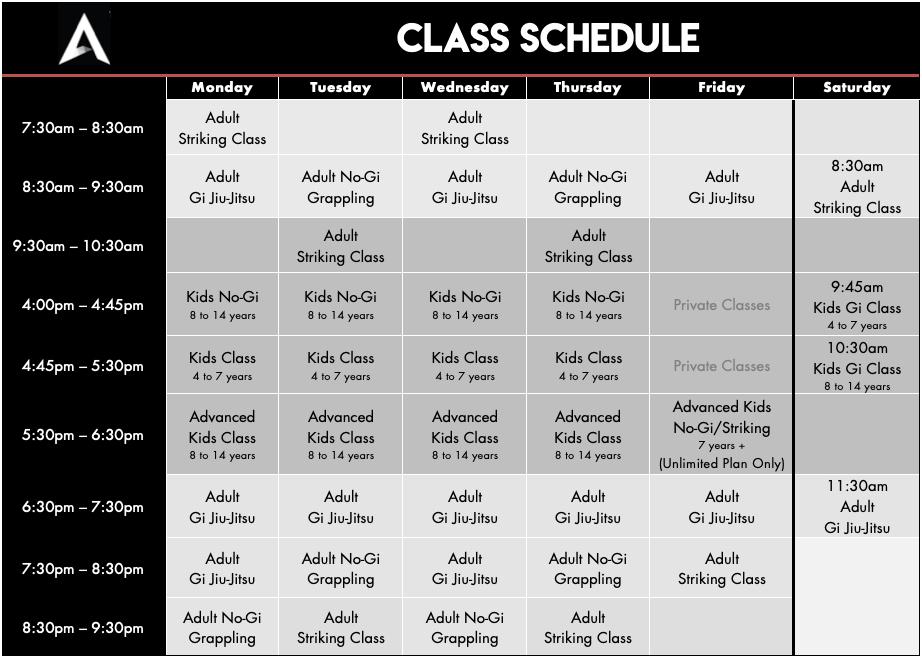 Academy 2019 Schedule